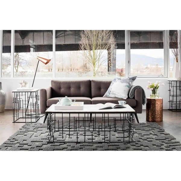 Aurelle Home Cortado Tufted Scandinavian Leather Sofa