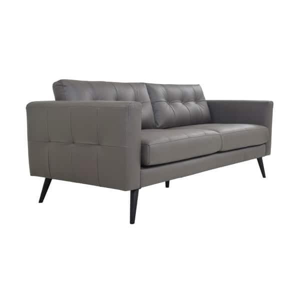 Shop Aurelle Home Scandinavian Soft Leather Sofa - Free ...