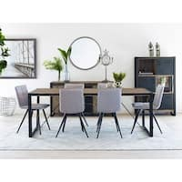 Aurelle Home Brown Large Industrial Wood Dining Table - N/A