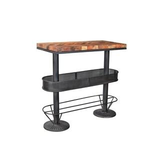 Aurelle Home Industrial Commercial Black Iron Bar Table