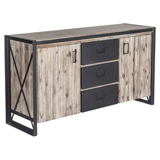 Aurelle Home Bronx Industrial Rustic Light Brown Wood Storage Sideboard