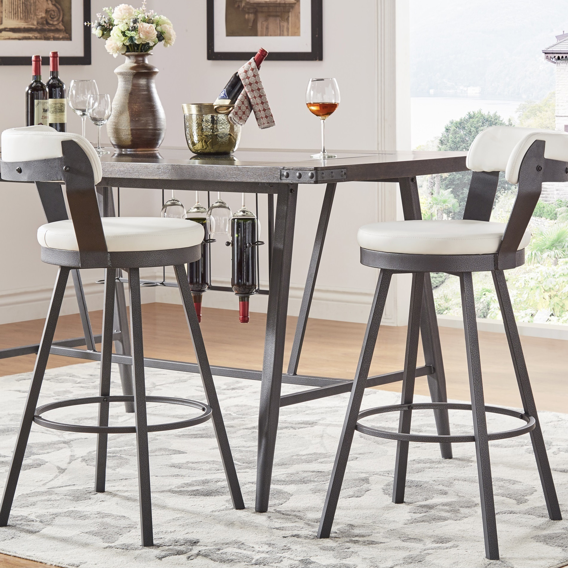 Pleasant Harley Faux Leather And Metal Swivel Stools Set Of 2 By Inspire Q Modern Gmtry Best Dining Table And Chair Ideas Images Gmtryco