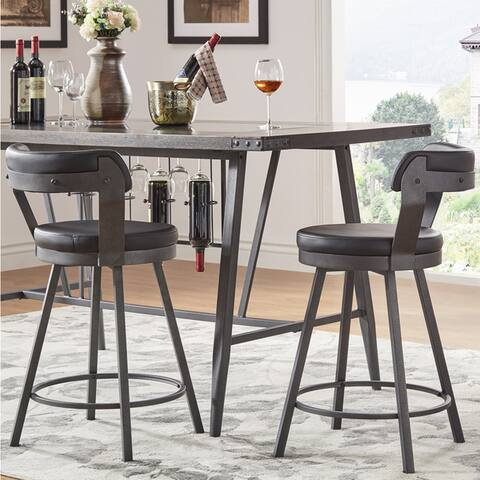Harley Faux Leather Metal Swivel Stools (Set of 2) by iNSPIRE Q Modern