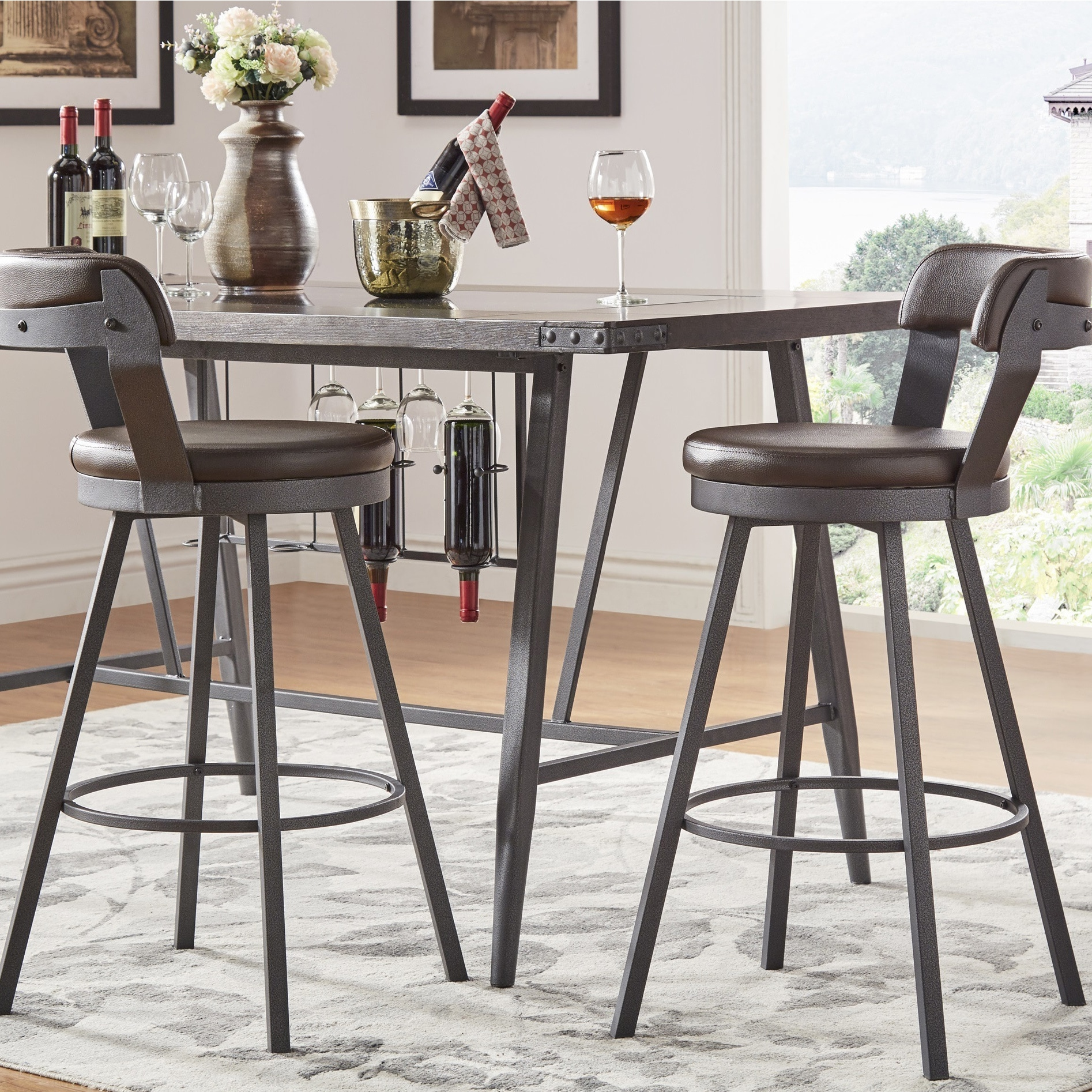 Terrific Harley Faux Leather And Metal Swivel Stools Set Of 2 By Inspire Q Modern Gmtry Best Dining Table And Chair Ideas Images Gmtryco
