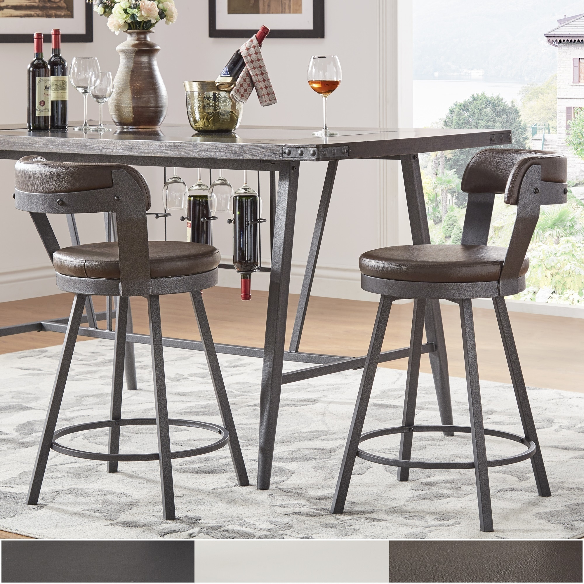 Shop Harley Faux Leather And Metal Swivel Stools Set Of 2 By