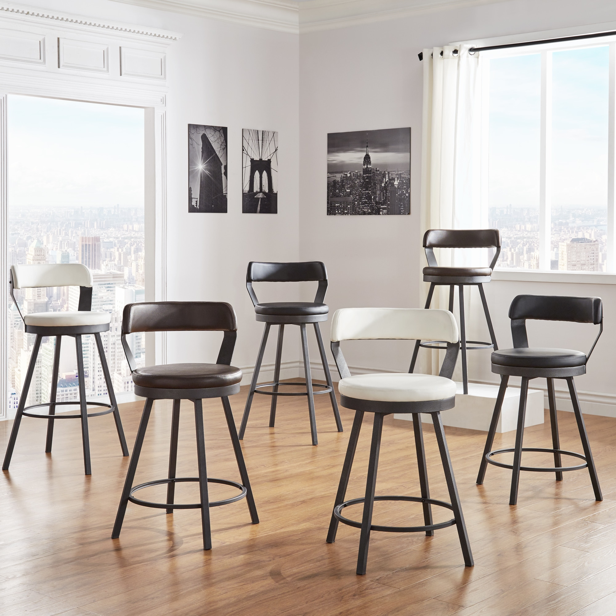 Harley Faux Leather And Metal Swivel Stools By