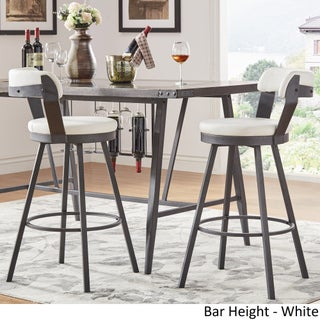 "Harley Faux Leather and Metal Swivel Stools (Set of 2) by iNSPIRE Q Modern (Option: 30"" Bar Height - White)"
