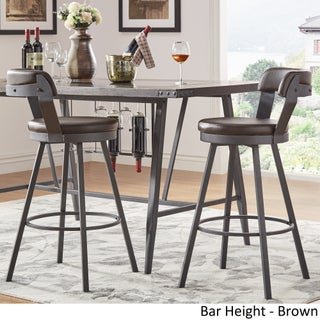 Harley Faux Leather and Metal Swivel Stools by iNSPIRE Q Modern (Set of 2) (2 options available)