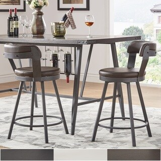 Harley Faux Leather and Metal Swivel Stools (Set of 2) by iNSPIRE Q Modern (More options available)