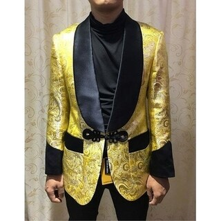 Gold Floral Shiny Sequin Men's Blazer with Shawl Black Lapel