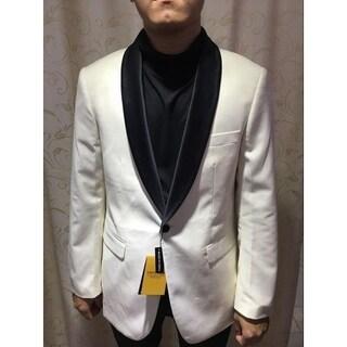 Solid White Elegant Men's Blazer with Shawl Black Lapel