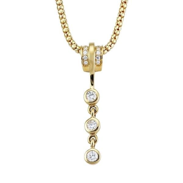 14K Yellow Gold 3/4ct Three Stone Dangling Pendant - White
