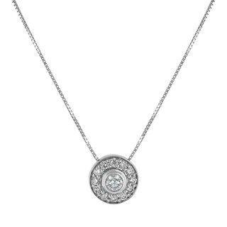 14K White Gold 1/2ct Diamond Bezel Halo Pendant