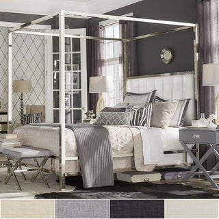 Solivita Chrome Metal Canopy Bed with Vertical Channel Headboard by iNSPIRE Q Bold