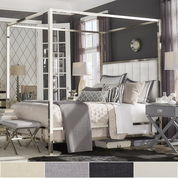 Shop Solivita Chrome Metal Canopy Bed With Vertical Channel