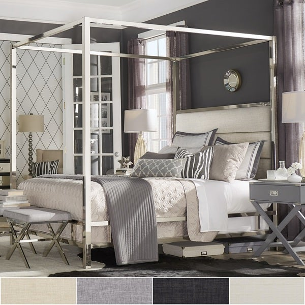 Solivita Chrome Metal Canopy Bed With Horizontal Panel Headboard By I Nspire Q Bold by I Nspire Q
