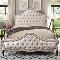 Furniture of America Crowna Traditional Beige Linen-like Tufted Bed