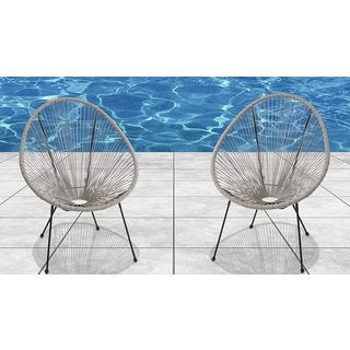 Living Source International Acapulco Resort Grade Grey Wicker/Steel Chairs (Set of 2)