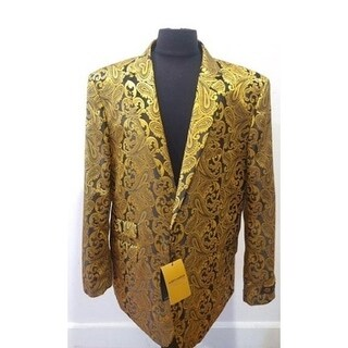 Gold with Black Floral Elegant Men's Blazer Coat with Notch Lapel