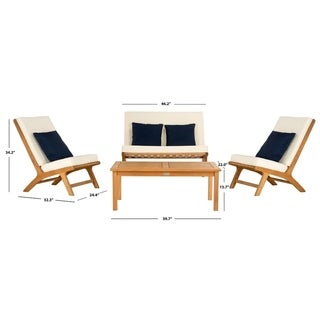 Safavieh Outdoor Living Chaston White/ Navy Blue 4 Pc Living Set With Accent Pillows