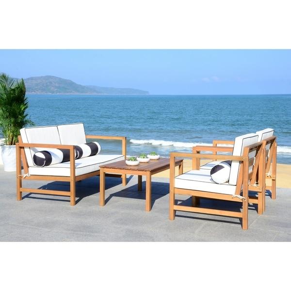 shop safavieh montez black white 4 pc outdoor set with accent