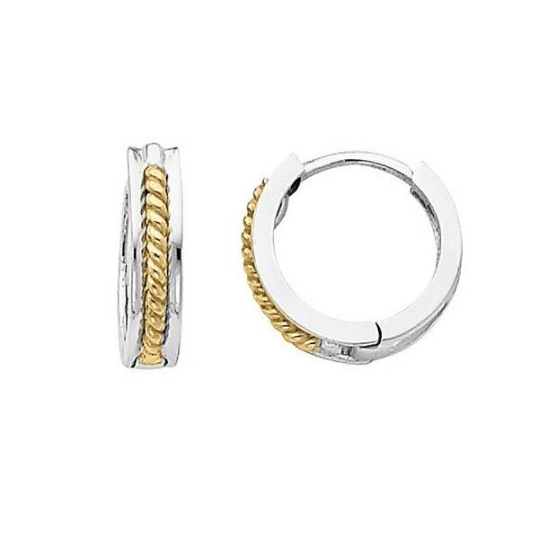 14k Two Tone Gold Small Hinged Hoop Earrings