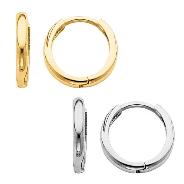 14k Yellow Or White Gold Thin And Small Hinged Hoop