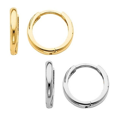 14k Yellow or White Gold Thin and Small Hinged Hoop Earrings