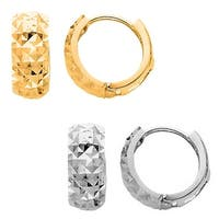 14k Yellow or White Gold Wide Diamond-cut Extra Small Hoop Earrings