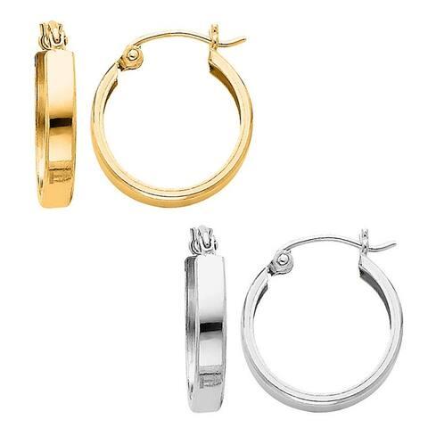 14k Yellow or White Gold Medium Square Tube Hoop Earrings