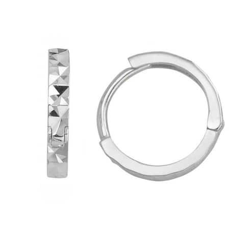 14k Yellow or White Gold Small Diamond-cut Hinged Hoop Earrings