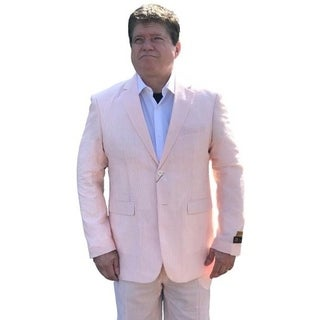Men's Elegant Orange Seersucker Suit 2 Button with Notch Lapel