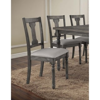 Best Master Furniture Demi Grey Linen Wooden Side Chairs (Set of 2)
