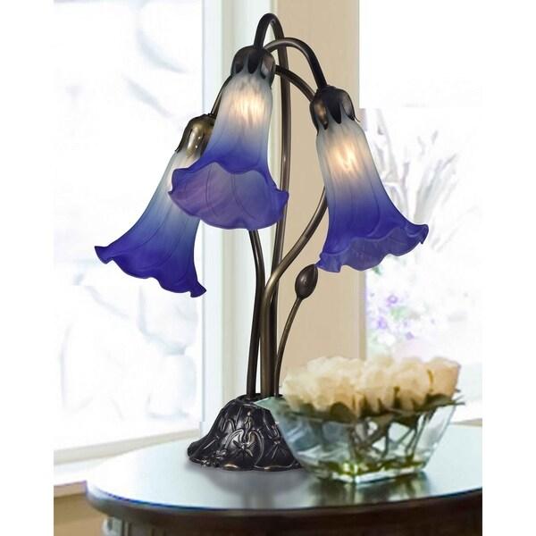 "Springdale 17""H Princess Lily Hand Blown Art Glass Accent Lamp"