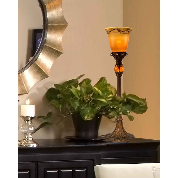 """Springdale 24""""H Garden Leaf Hand Painted Buffet Table Lamp"""