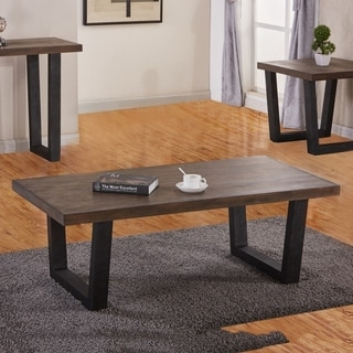 Best Quality Furniture Rustic Brown Wood/Metal 2-piece Coffee and End Table Set