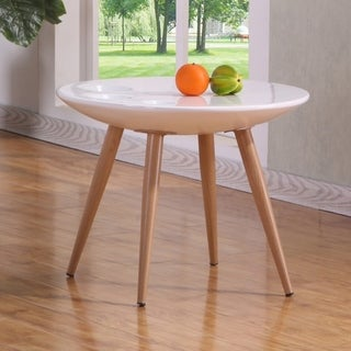 Best Quality Furniture Modern Round End Table, High Gloss White