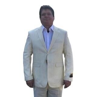 Men's Elegant Yellow Seersucker Suit 2 Button with Notch Lapel