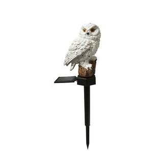 White Solar Owl Stake Light