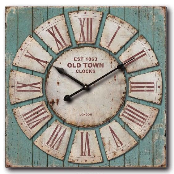 Oversized 30 X27 Rustic Blue Pallet Wall Clock