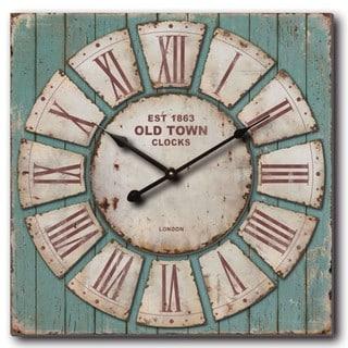 "Oversized 30' Rustic Blue Pallet Wall Clock - 30""d x 2.75""d"