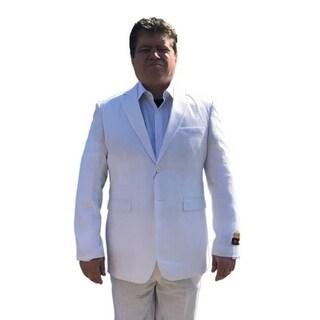 Men's Elegant White Seersucker Suit 2 Button with Notch Lapel (Option: 56r)