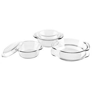 6 Pcs. Oven Borosilicate Handled Glass Bakeware Round Casserole Dish Set