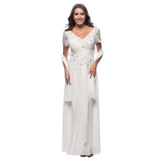 DFI Women's Lace & Sequin Detail Gown in Lilac-L (As Is Item)