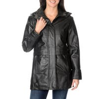 Excelled Women's Black Leather Hooded Anorak Jacket in Size L (As Is Item)