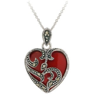 Glitzy Rocks Sterling Silver Marcasite and Gemstone Heart Necklace (5 options available)