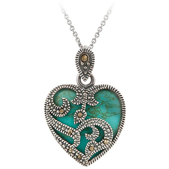 0d3410881c Shop Glitzy Rocks Sterling Silver Marcasite and Gemstone Heart Necklace -  On Sale - Free Shipping On Orders Over $45 - Overstock - 1871971