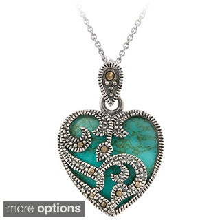 Glitzy Rocks Sterling Silver Marcasite and Gemstone Heart Necklace (Option: Abalone)