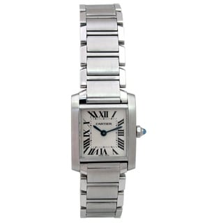 Pre-owned Lady Cartier Stainless Steel Tank Francaise Watch with Silver Dial