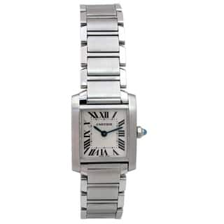Pre-owned Lady Cartier Stainless Steel Tank Francaise Watch with Silver Dial|https://ak1.ostkcdn.com/images/products/18721061/P24802941.jpg?impolicy=medium
